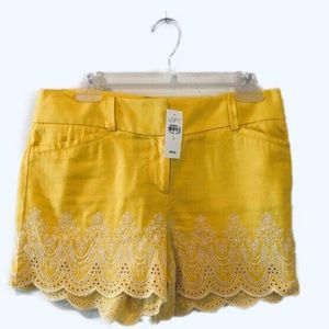 Loft Yellow Scalloped Shorts 0